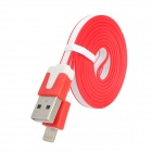 USB to 8-Pin Lightning Data / Charging Flat Cable for iPhone 5 - Red + White (100CM)