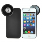 2-in-1 37mm Wide Angle / Macro Lens w/ Protective Back Case for iPhone 5 - Black