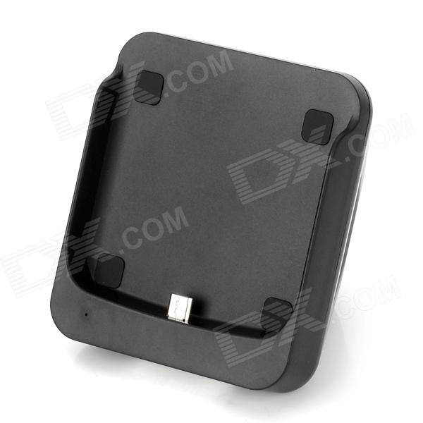 Unique Triangular Pyramid Shape Micro USB Sync & Charging Station for Samsung Galaxy i9500 - Black