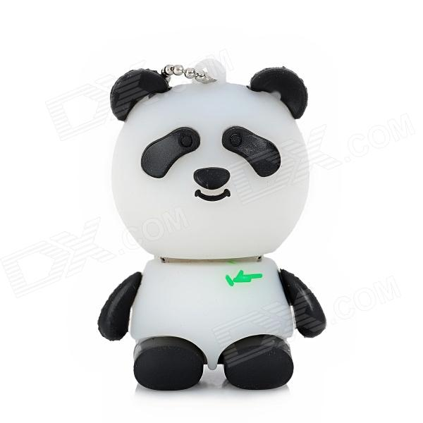 Round Cartoon Panda Style USB 2.0 Flash Drive - Black + White (16GB)