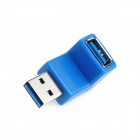 Right Angle USB 3.0 Male to Female Adapter - Blue - Silver