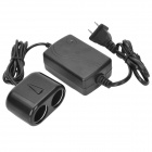 FXA036D Double Car Cigarette Lighter Plug AC / DC Adapter Power Converter - Black
