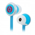 SN-894MP Fashion In-Ear Flat Cable Earphones - Blue + White + Silver (3.5mm Plug / 120cm-Cable)