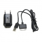 Monie EU Plug Power Adapter + Apple 30-Pin Male to USB Male Data Cable - Black