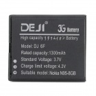 DEJI DJ-BL-6F Replacement Li-ion 1300mAh Battery for Nokia N78 / N79 / N95-8G / 6788 - Black