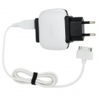 UMIQU T506 EU Plug Dual USB Power Adapter AC Charger for iPhone 4 / 4S - White + Black (AC 100~240V)