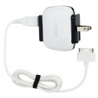UMIQU T506 2-Flat-Pin Plug Dual USB AC Charger for iPhone 4 / 4S - White + Black (AC 100~240V)