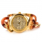 Fashion Stainless Steel Round Analog Quartz Wrist Watch for Women - Golden