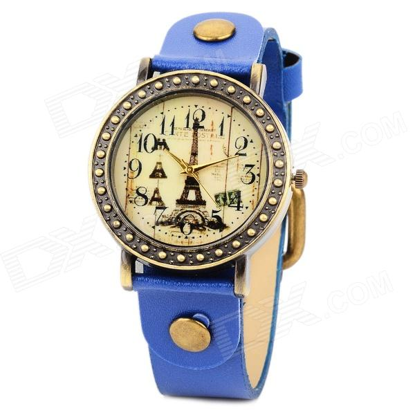 Fashion Analog Quartz Wrist Watch for Women - Blue + Bronze