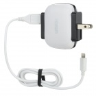 UMIQU T506 US Plug Dual USB AC Charger for iPhone 5 / iPad Mini - White + Black (AC 100~240V)