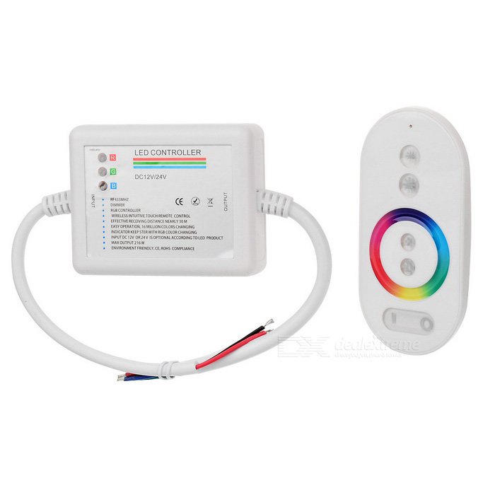 216W 1-to-1 RGB Controller w/ RF Touch Remote Control for 7-Color LED Light Strip - White (DC 12V) тонер static control mpt5 10kg