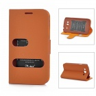 Alis Protective PU Leather Flip-Open Case for Samsung i9082 - Brown