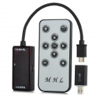 Micro USB to MHL HDMI Adapter w/ Remote Control for Samsung i9000 / i9100 / i9200 - Black