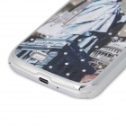 Stylish Crystal-inlaid Protective Plastic Back Case for Samsung S4 i9500 - Blueish Green + Gray