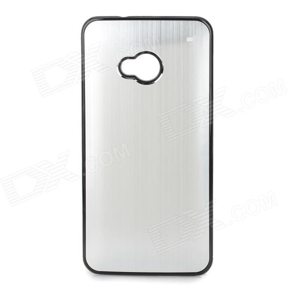Stylish Brushed Metal Aluminum Alloy Back Case for HTC One / M7 - Silver + Black iface mall for iphone 6 plus 6s plus glossy pc non slip tpu shell case black