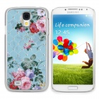 Stylish Crystal-inlaid Rose Pattern Protective Plastic Back Case for Samsung S4 i9500 - Multicolored