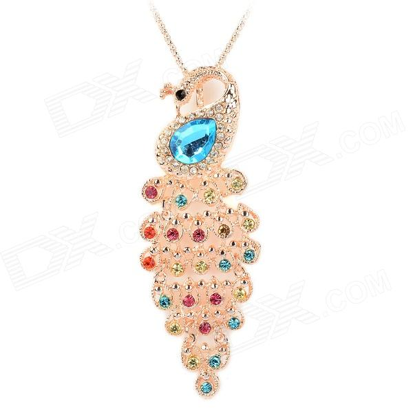Rhinestone Peacock Style Alloy Plating Necklace - Colorful