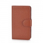 Alis Protective PU Leather Flip-Open Case w/ Card Slots for Samsung i8262 - Brown