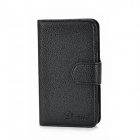 Alis Protective PU Leather Flip-Open Case w/ Card Slots for Samsung i8262 - Black