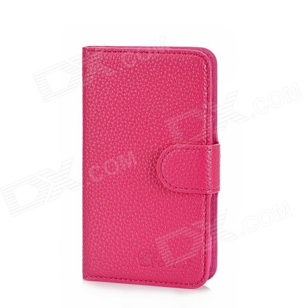 Alis Protective PU Leather Flip-Open Case w/ Card Slots for Samsung i8262 - Deep Pink solid color litchi pattern wallet style front buckle flip pu leather case with card slots for doogee x10