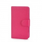 Alis Protective PU Leather Flip-Open Case w/ Card Slots for Samsung i8262 - Deep Pink