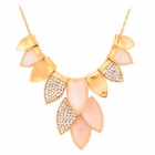 Rhinestone Leaves Style Zinc Alloy Necklace - Golden