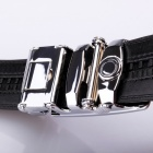 Calmoon 101 Men's Automatic Buckle Stylish Cowhide Leather Belt - Black (135cm/3.5cm)