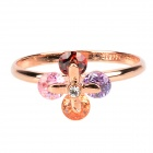 KCCHSTAR Stylish Crystal Flower Finger Rings - Golden + Colorful