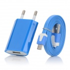 EU Plug USB Wall Charger + Male USB to Micro USB Sync & Charging Flat Cable - Blue