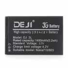 DEJI DJ-BP-3L Replacement Li-ion 1400mAh Battery for Nokia 710 / 603 - Black