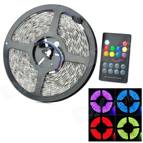 Waterproof 72W 3000lm 300-5050 SMD LED RGB Light Strip w/ RGB Remote Controller (5m / DC 12V) zdm waterproof 72w 200lm 470nm 300 smd 5050 led blue light strip white grey dc 12v 5m