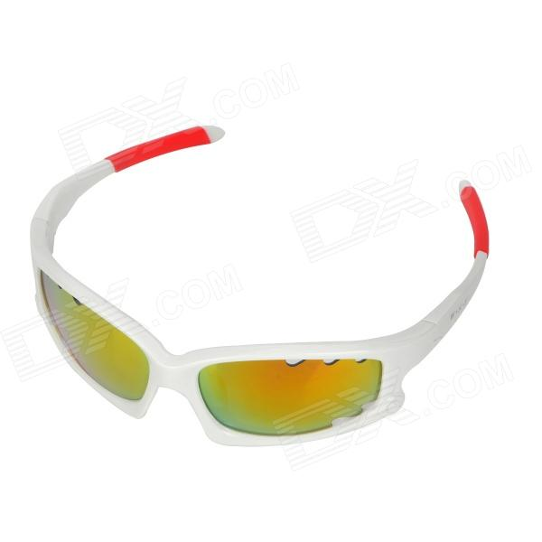 CARSHIRO 077 Cycling UV400 Protection Sunglasses Goggles - White + Red