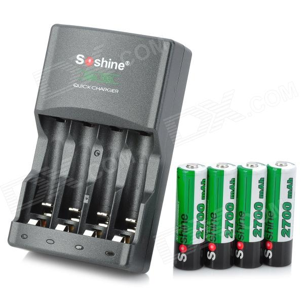 Soshine SC-U1 4-Slots AA/AAA Battery Charger w/ 2700mAh AA Ni-MH Batteries - Black hot sale 4pcs pack soshine ni mh aa 1 2v 2700mah rechargeable batteries portable battery box for toys cameras flashlights