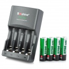 Soshine SC-U1 4-Slots AA/AAA Battery Charger w/ 2700mAh AA Ni-MH Batteries - Black