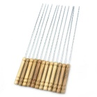 12-in-1 BBQ Barbecue Skewers w/ Wood Handle - Wood + Silver
