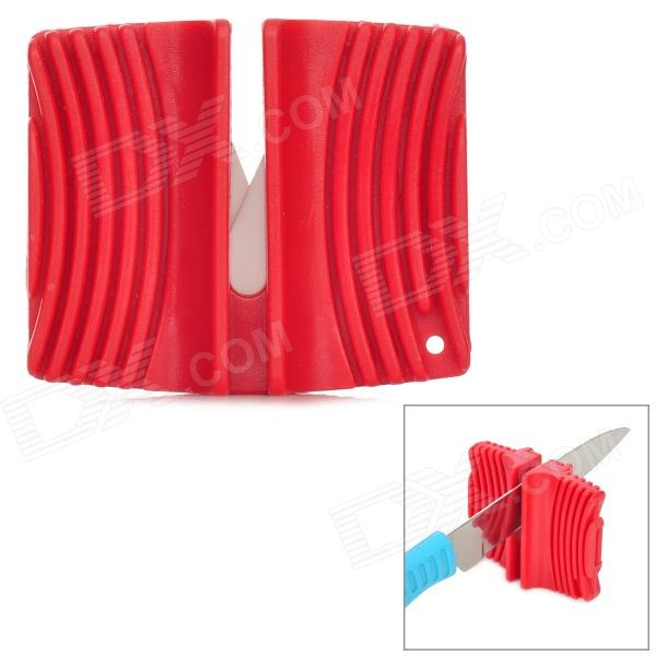 Portable Knife Sharpener - Red taidea t1005dc convenient 2 section kitchen knife sharpener black red