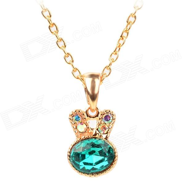 Rabbit Style Copper-aluminum Alloy + Rhinestones Pendant Necklace for Women - Green + Golden fashion copper alloy neck decoration collar necklace golden