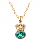 Rabbit Style Copper-aluminum Alloy + Rhinestones Pendant Necklace for Women - Green + Golden