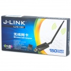 J-LINK LJ-6100 802.11b / g / n 150Mbps 2.0 Wireless Network Adapter w / Antena USB - Preto