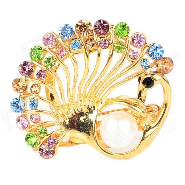 ZEA-KQ1 Elegant Alloy + Rhinestone Peafowl Shape Brooch - Golden + Multicolored