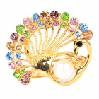Elegant Alloy + Rhinestone Peafowl Shape Brooch - Golden + Multicolored