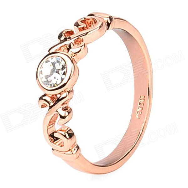KCCHSTAR Stylish 18K Alloy + Crystal Finger Ring for Women - Golden