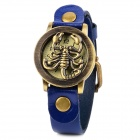 PU Leather Band Stainless Steel Round Dial Quartz Analog Women's Wrist Watch - Blue + Bronze