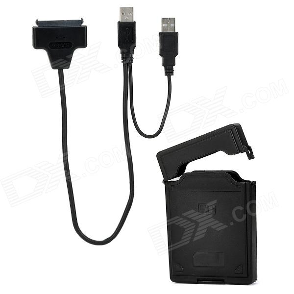 Dual USB Male to SATA Connection Cable w/ 2.5 HDD Protective Case - Black (20cm / 40cm) usb 2 0 to sata 22pin connection cable for 2 5 hdd black 25cm