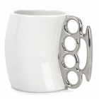 Cool Unique Ceramic Fist Cup Mug - White + Silver (350mL)