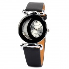 PU Leather Band Stainless Steel Round Dial Quartz Analog Men's Wrist Watch - Black (1 x 377)