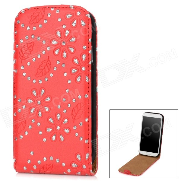 Protective PU + Crystals Up-down Flip Open Case for Samsung i9500 - Red + Silver