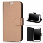 Drawing Pattern Protective PU Flip-open Case for Samsung i9500 - Bronze