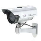 MD9608 Solar Power Dummy Realistic Surveillance Security Camera w/ 1-LED Red Flash Light - Silver