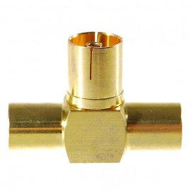 Gold Plated TV Aerial Socket 1-Female 2-Male T-Connector